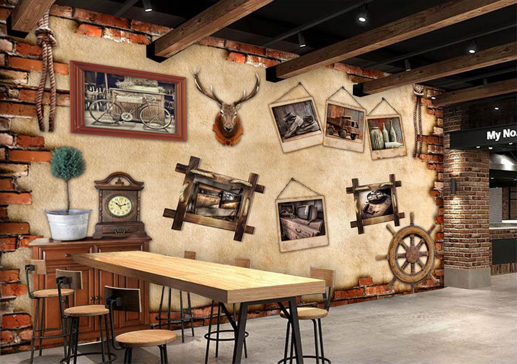 欧美复古照片墙酒吧咖啡店背景墙