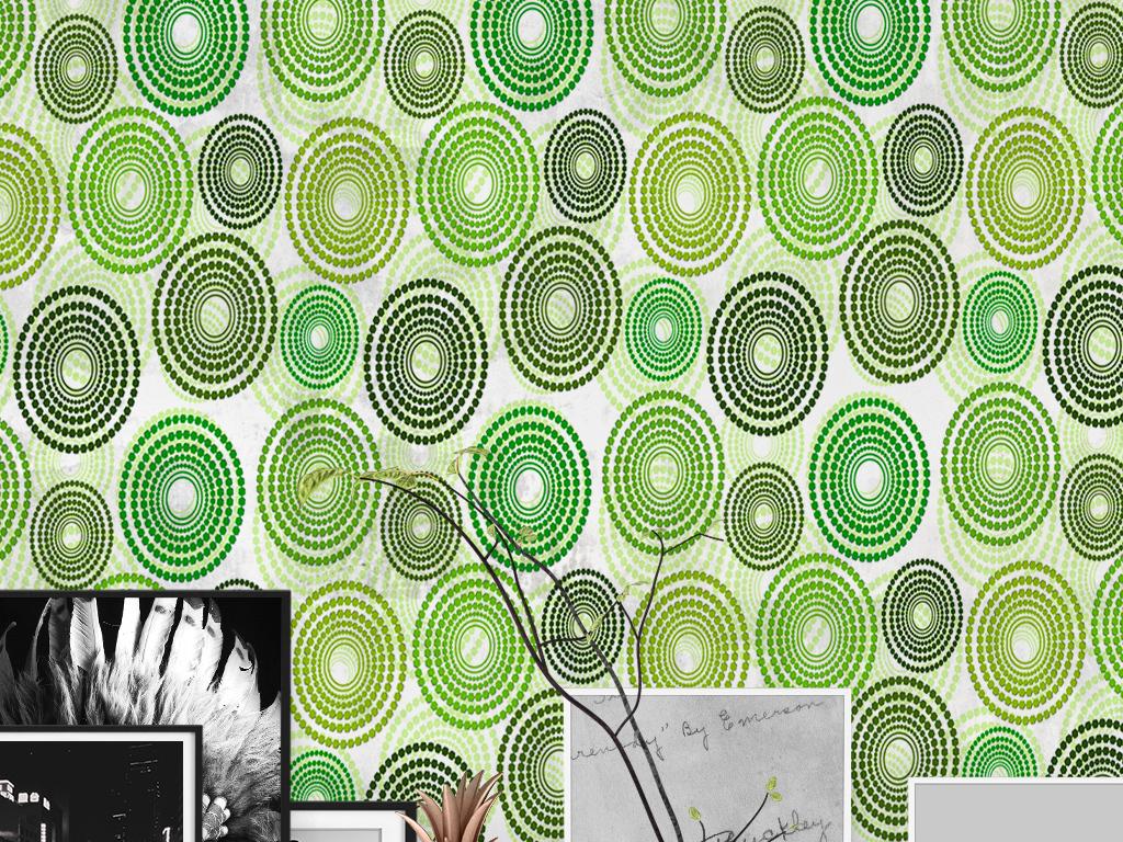 手绘壁纸                                  绿色壁纸几何图案