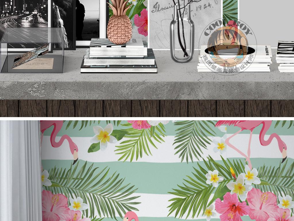 热带雨林芭蕉扇火烈鸟小碎花清新欧式墙纸