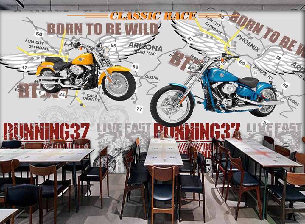 欧美涂鸦哈雷摩托车酒吧ktv背景墙