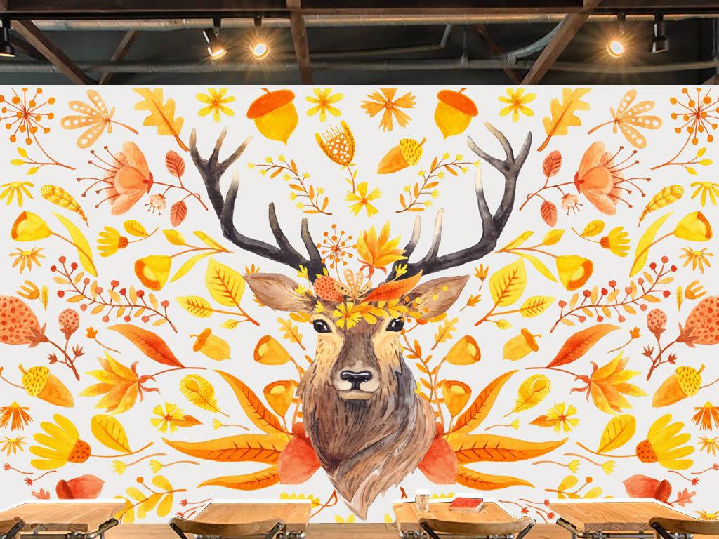 欧美手绘麋鹿抽象鹿花卉花朵背景墙