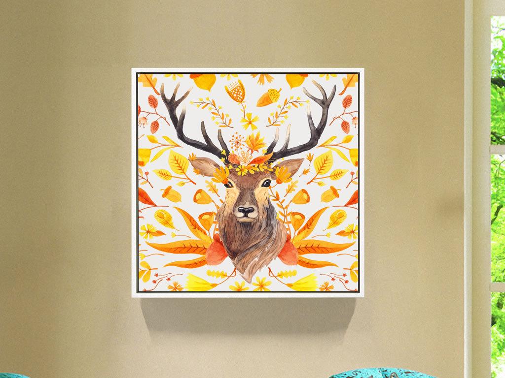 欧美手绘水彩抽象鹿驯鹿无框画装饰画