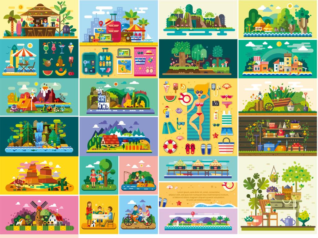 树木岛屿卡通矢量图标