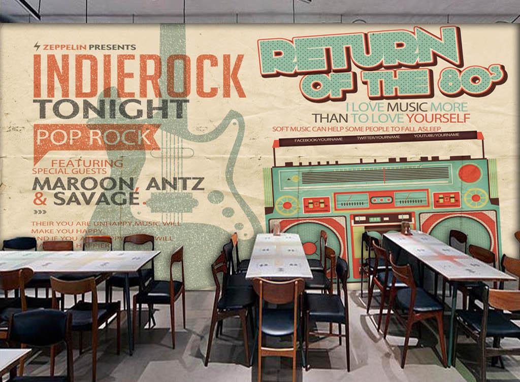 欧美复古手绘收音机酒吧咖啡店背景墙