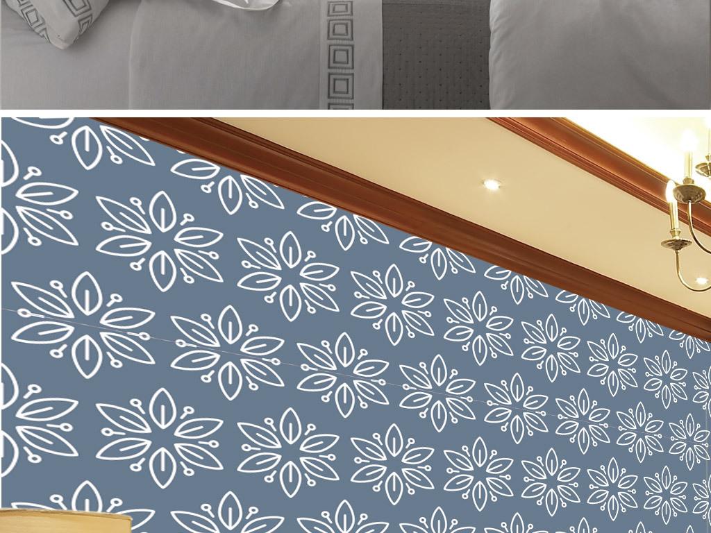 花纹线描复古肌理壁纸画稿卷草缠枝美式欧式电视背景