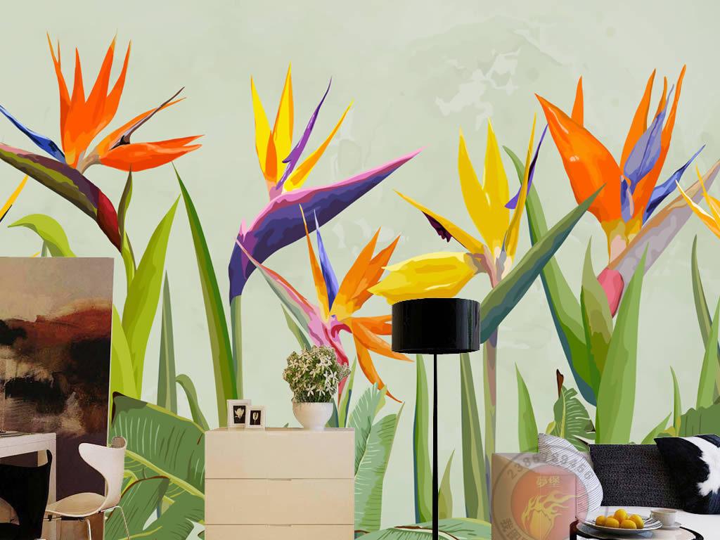 手绘欧美热带雨林热带植物棕榈叶背景墙