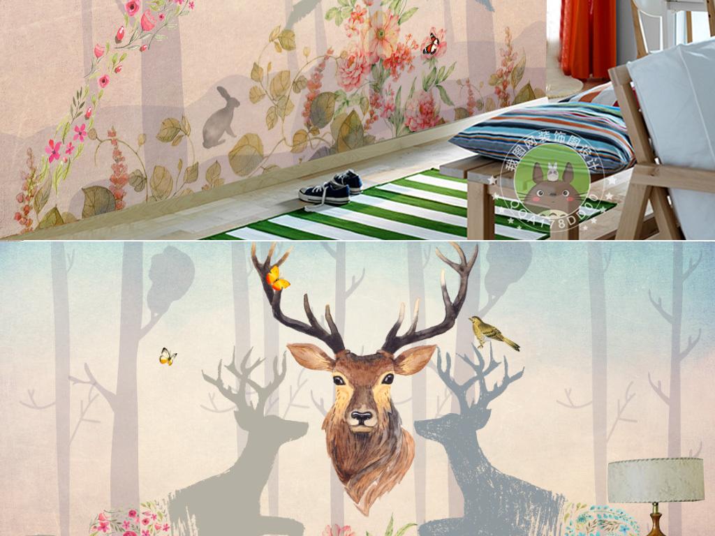 复古怀旧森林麋鹿背景墙