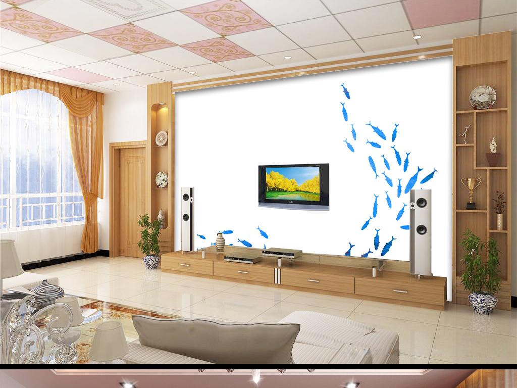 背景墙|装饰画 电视背景墙 手绘电视背景墙 > 极简北欧创意蓝色海洋