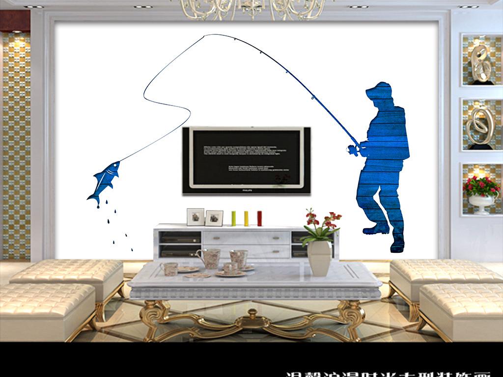 手绘简约北欧风钓鱼者背景墙装饰画