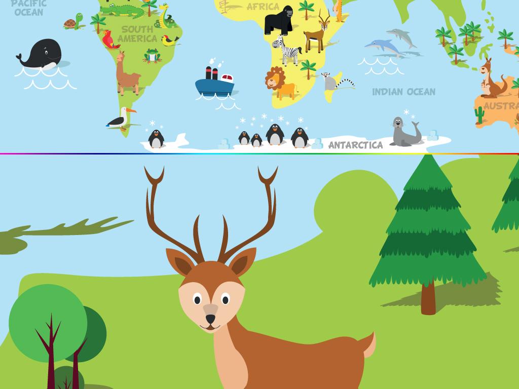 卡通手绘动物环游世界旅游地图背景墙