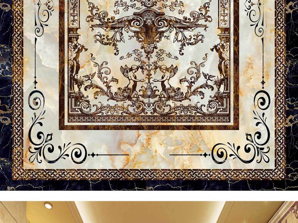 欧式石材花纹拼花3d地板地砖图片