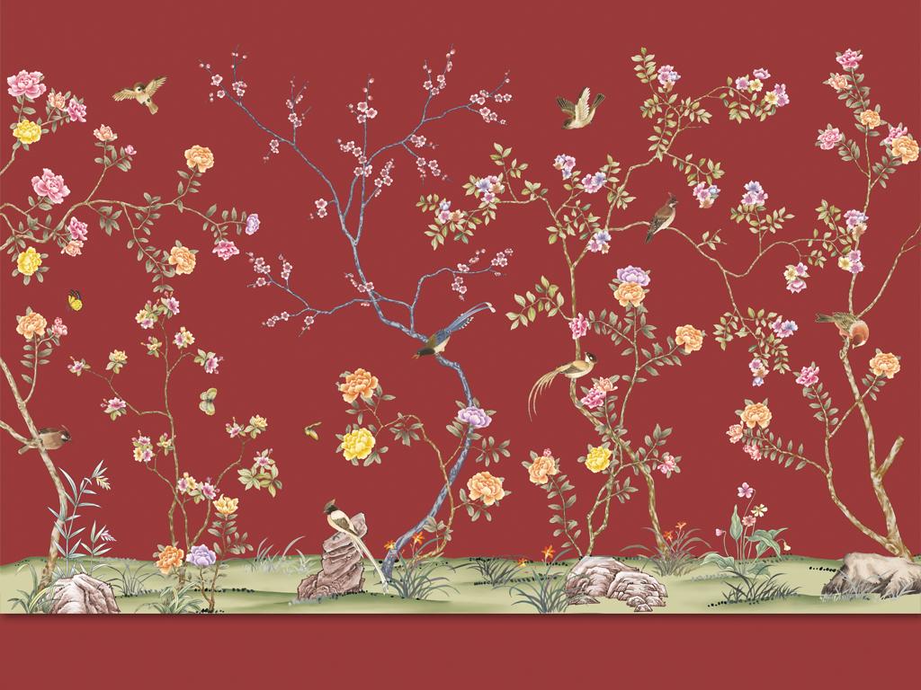 壁画 手绘壁画 > 新中式经典中国风工笔花鸟手绘高清红底