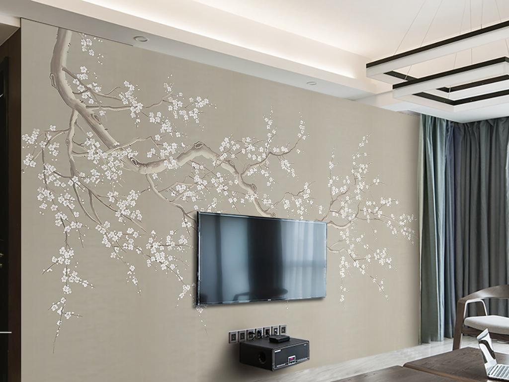 现代简易新中式禅意梅花电视背景墙图片