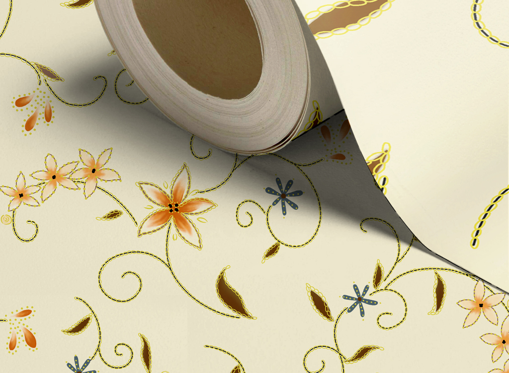 ktv墙纸卧室墙纸电视背景墙psd分层手绘花纹藤条花纹墙纸图片墙纸素材