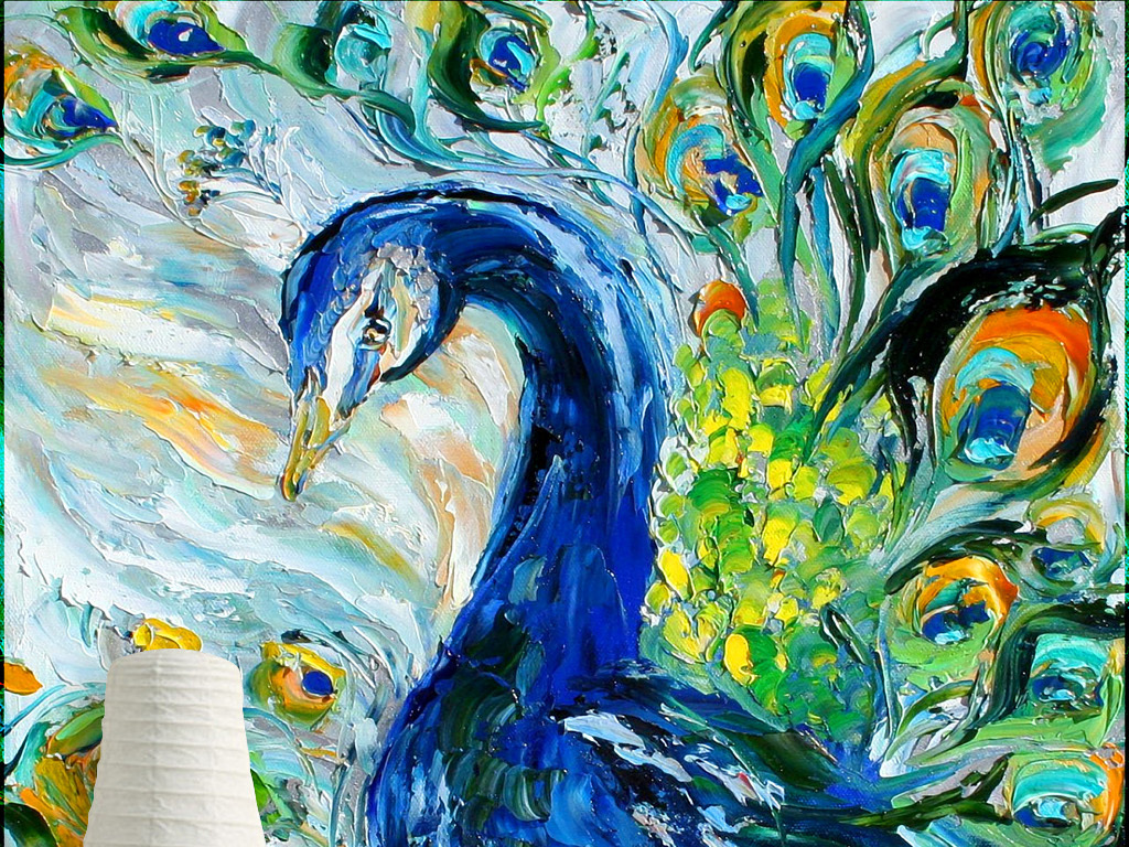 孔雀开屏孔雀图片孔雀图孔雀图案油画孔雀白孔雀孔雀装饰画孔雀玄关
