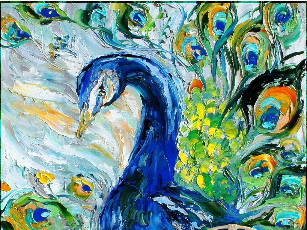 手绘油画孔雀背景墙图片设计素材_高清模板下载(155.