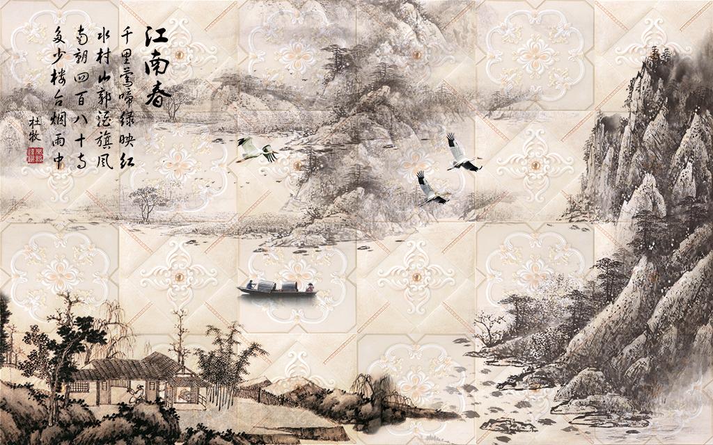 江南春山水画电视背景墙装饰画