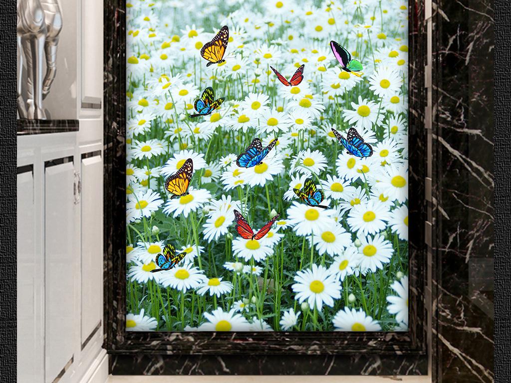 背景墙|装饰画 玄关 山水花鸟玄关图 > 蝴蝶盛开花朵玄关装饰背景墙