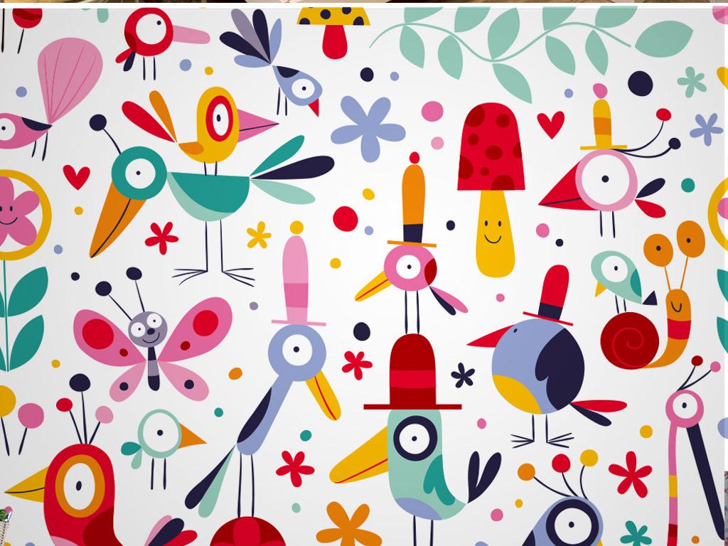 儿童卡通动物世界墙纸
