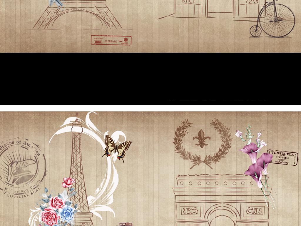 复古背景墙埃菲尔铁塔(图片编号:15518645)_美式背景