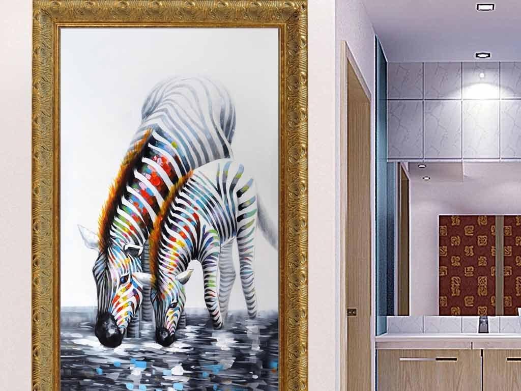 油画高清斑马艺术玄关装饰画