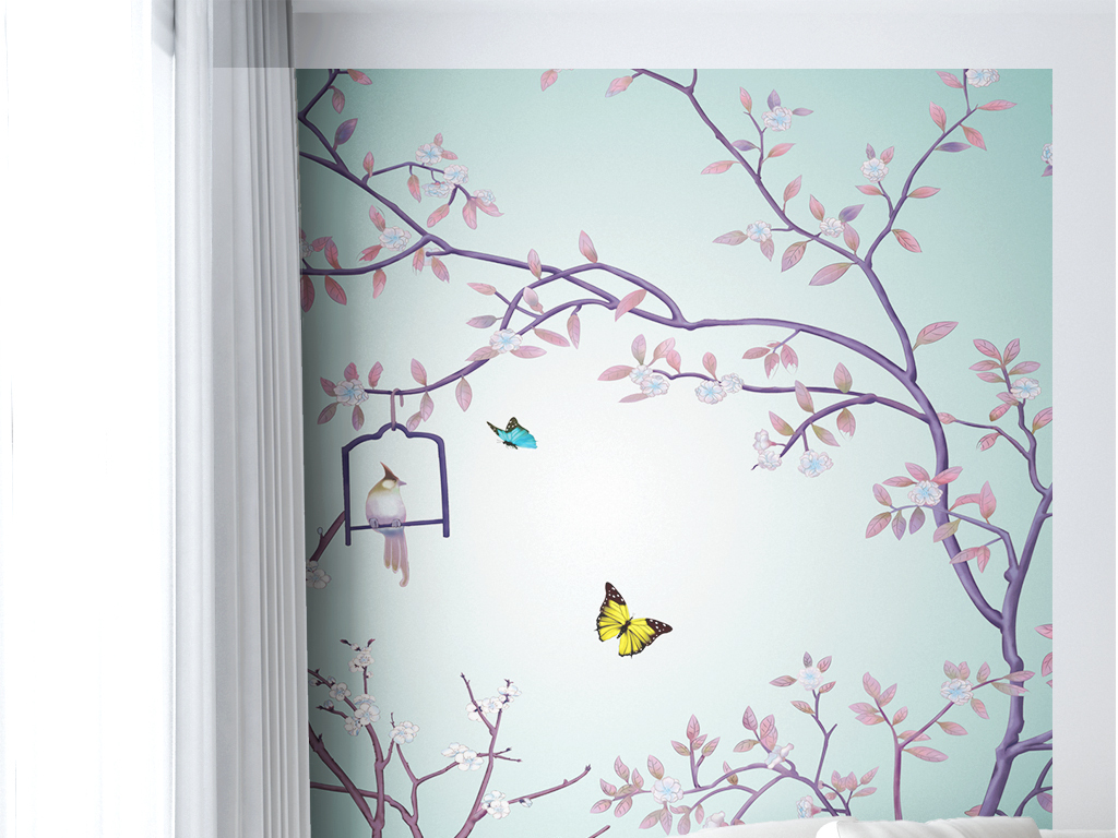 背景墙|装饰画 电视背景墙 美式背景墙 > 清新花鸟电脑手绘背景墙