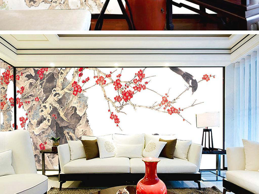 新中式手绘花鸟素雅梅花喜鹊室内壁纸墙纸