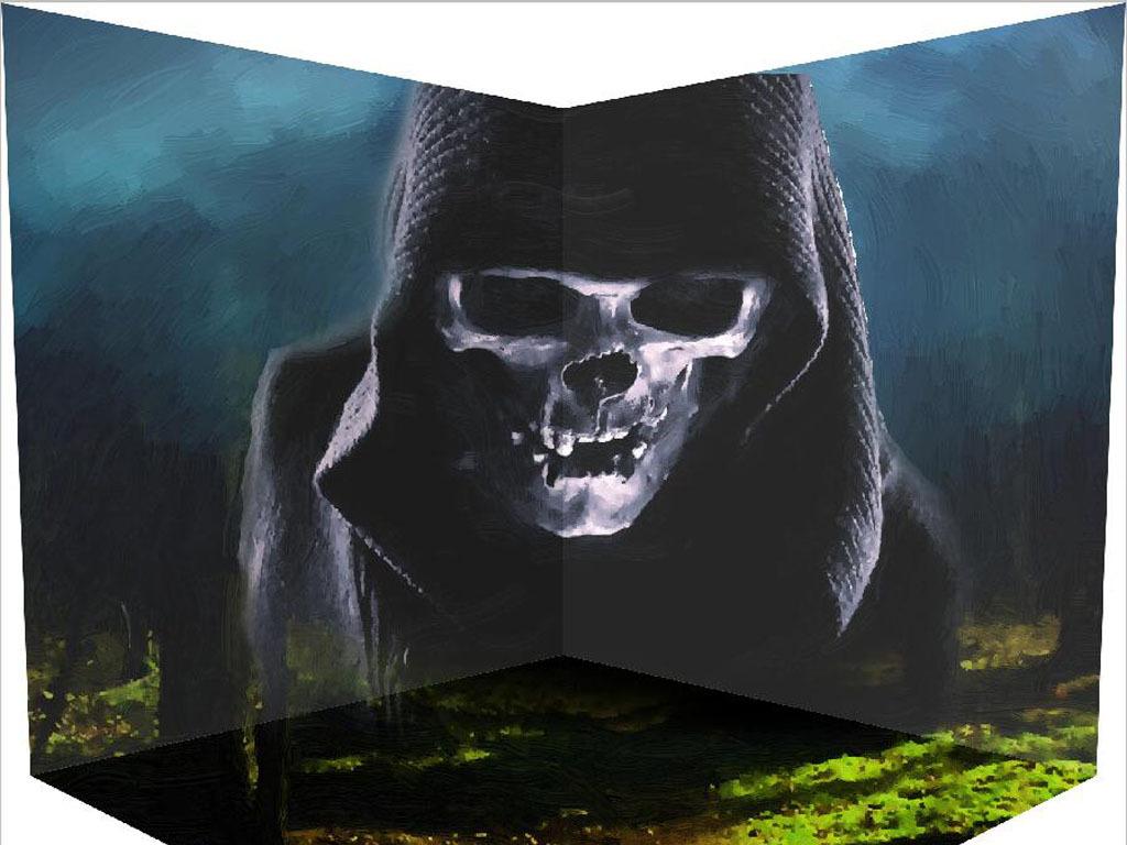 3d立体画墙贴房屋恐怖骷髅