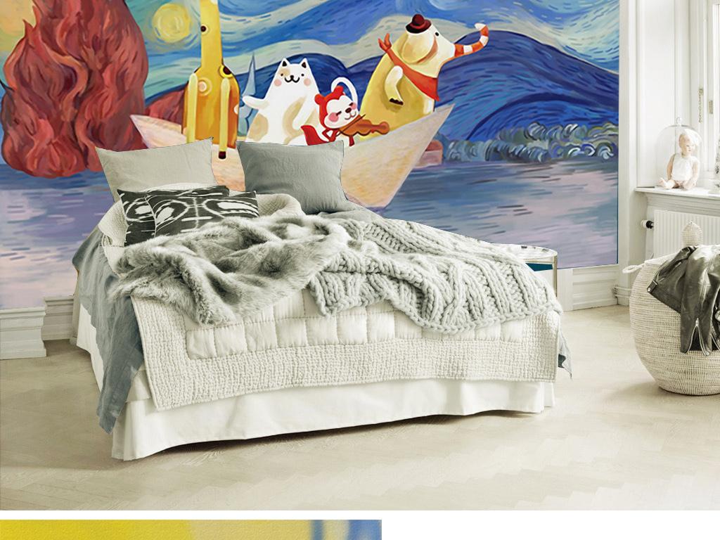 手绘卡通星空动物儿童房主题背景墙