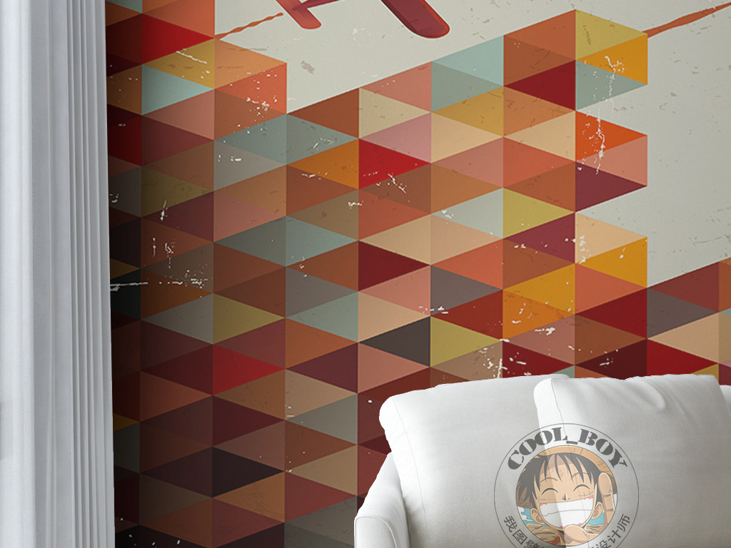 复古时尚俄罗斯方块几何飞机现代简约墙纸