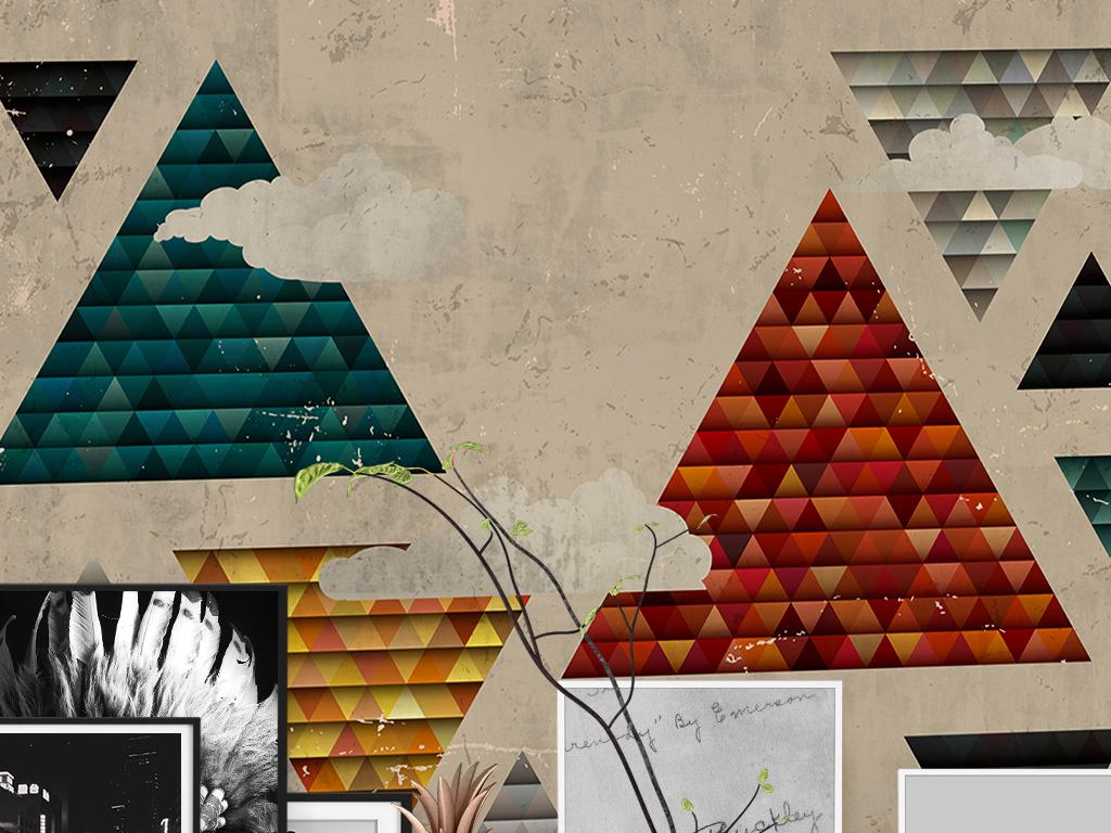 复古时尚简约金字塔彩色三角形手绘壁纸墙纸