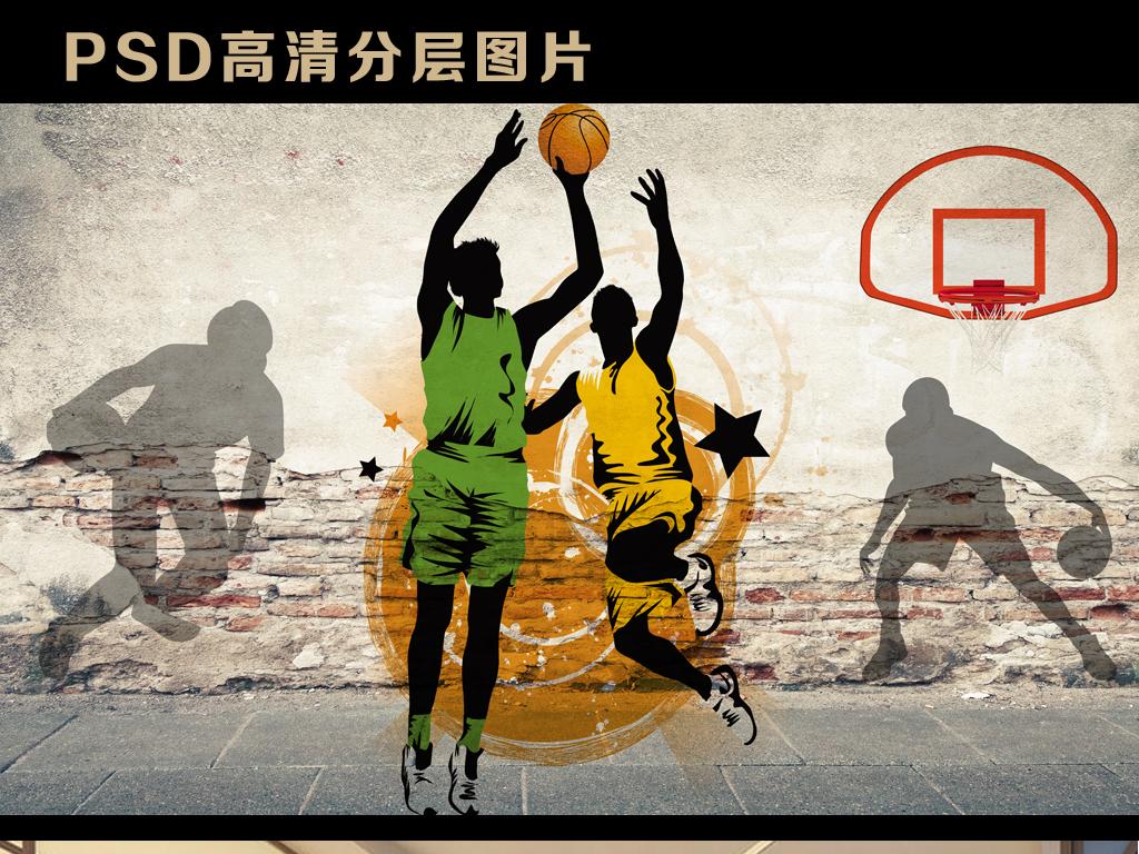 怀旧复古砖墙破旧墙壁欧美涂鸦篮球扣篮nba篮筐耐克抽象砖墙电视背景