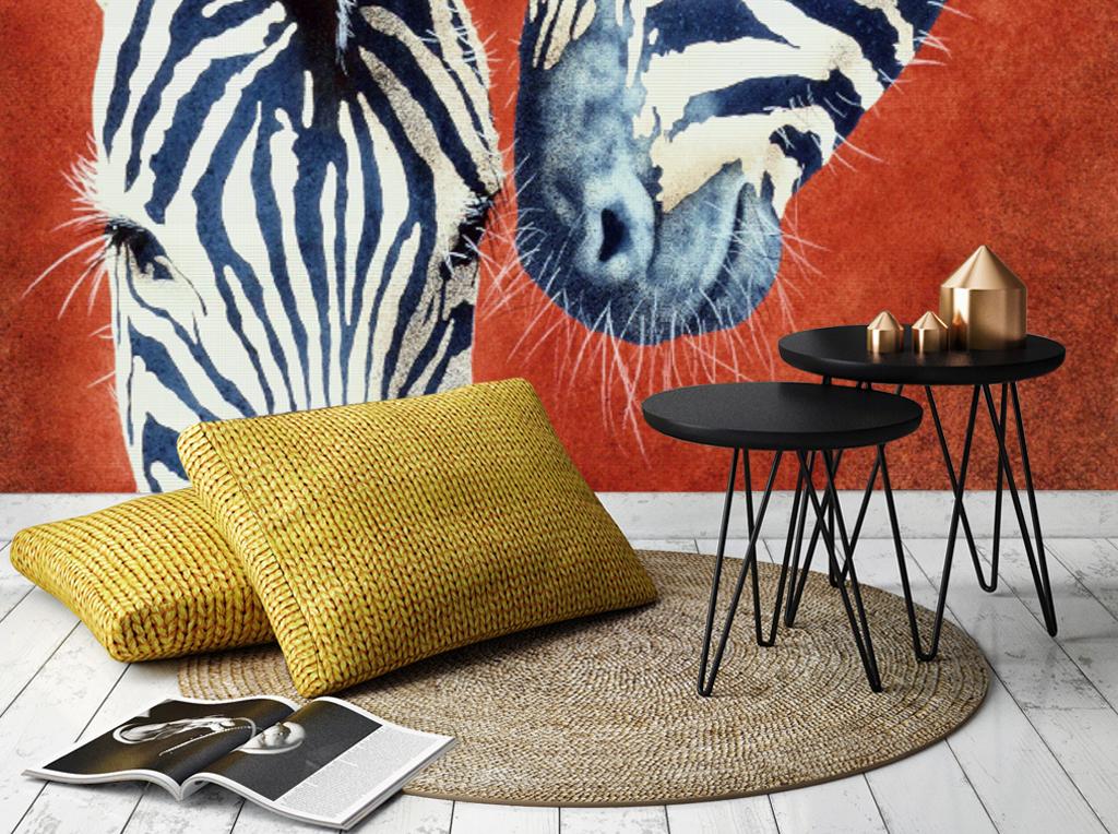 手绘红底斑马现代时尚背景