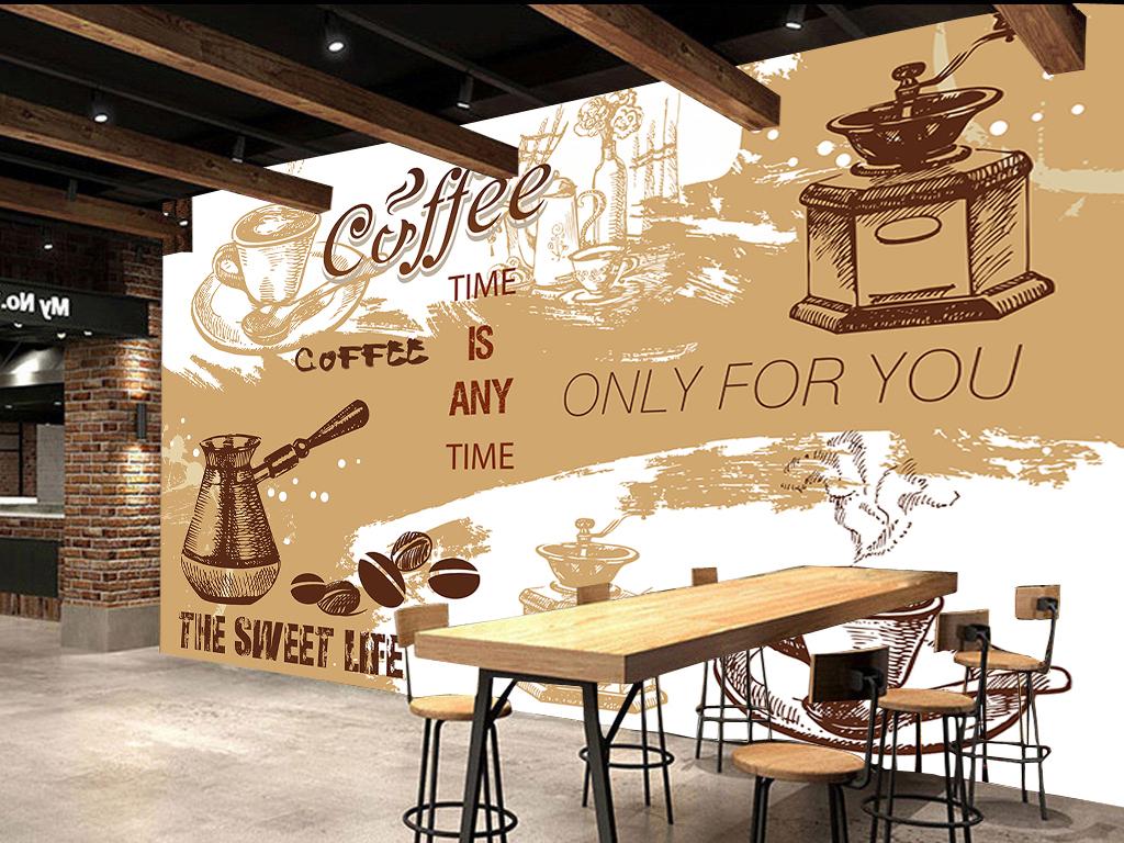 背景墙|装饰画 电视背景墙 手绘电视背景墙 > 咖啡厅背景墙复古咖啡怀