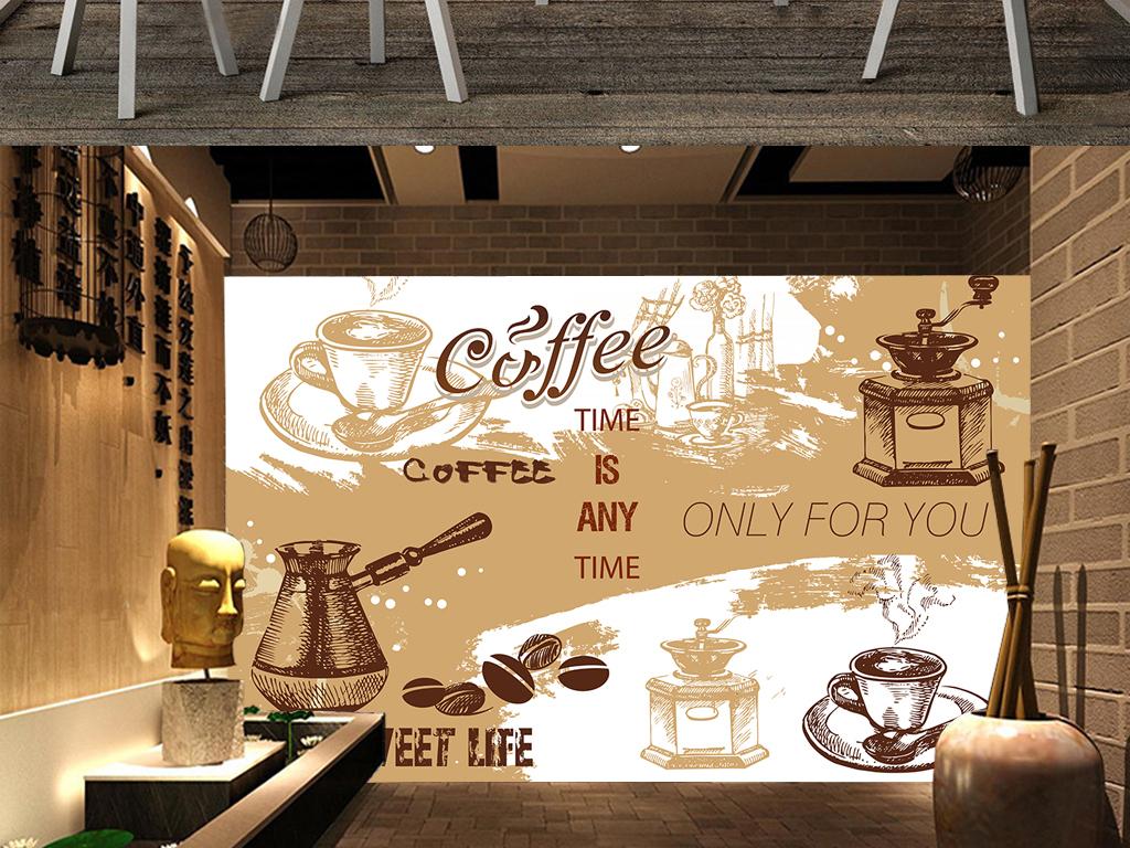 背景墙|装饰画 电视背景墙 手绘电视背景墙 > 咖啡厅背景墙复古咖啡