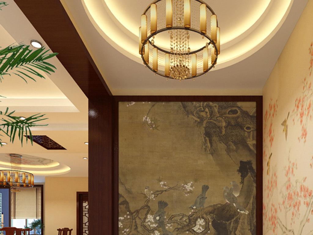 中式玄关背景墙装饰画明吕纪四季花鸟图春