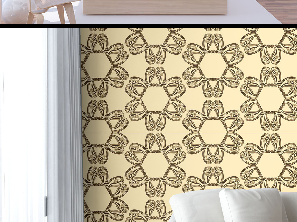 设计作品简介: 欧式花纹墙纸 矢量图, cmyk格式高清大图,使用软件为图片