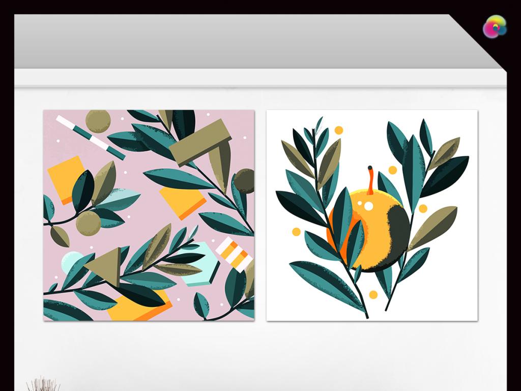 欧式复古怀旧手绘蒲公英植物抽象绘画背景墙