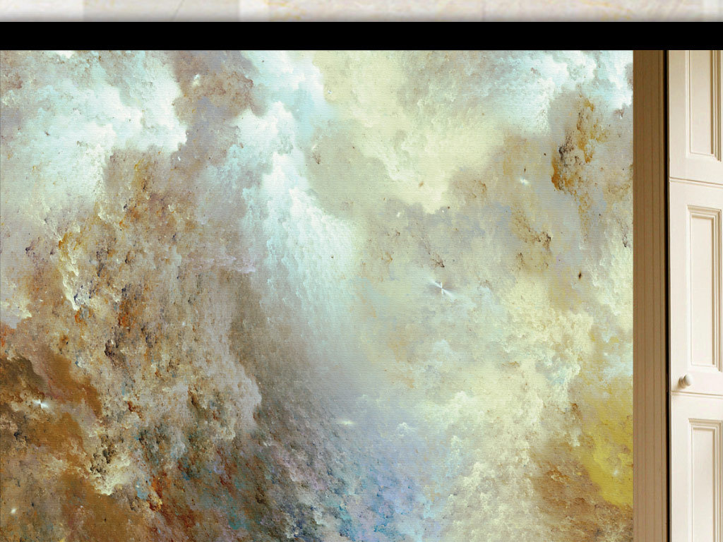 欧式抽象手绘炫彩天空玄关
