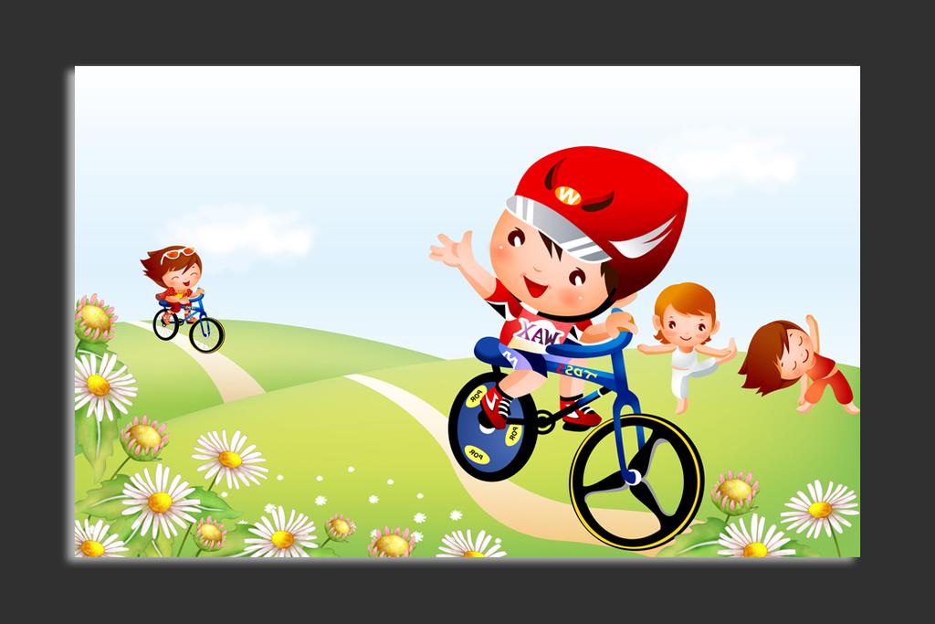 工装婴幼儿房沙发背景墙婴儿用品骑单车儿童骑自行车卡通骑单车儿童骑