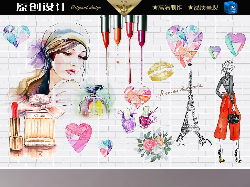美妆美容美体水彩手绘美女时尚唯美背景墙电视背景墙图片玻璃电视背景