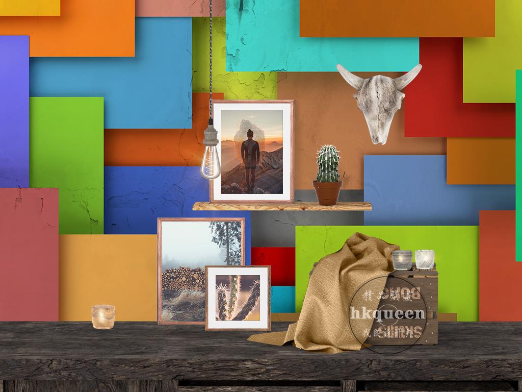 3d简约时尚彩色方块几何图形立体背景墙图片