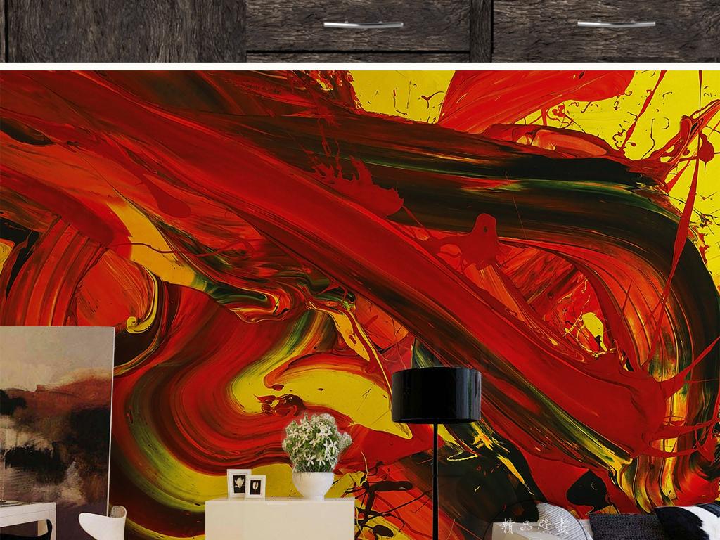 欧式复古红色抽象图案油画彩绘手绘背景墙