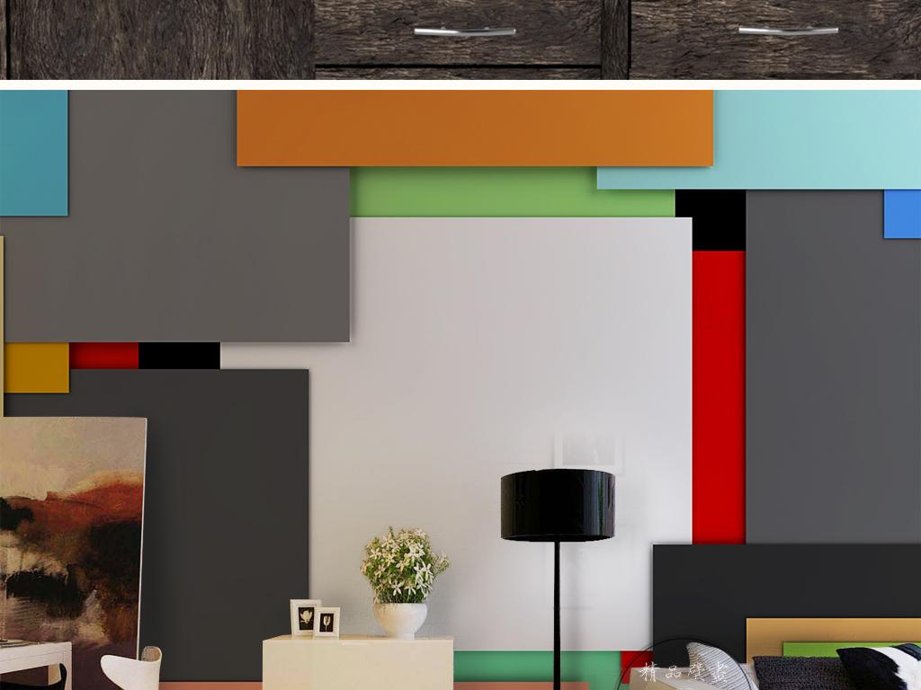 3d简约时尚素雅方块立体几何图形背景墙图片