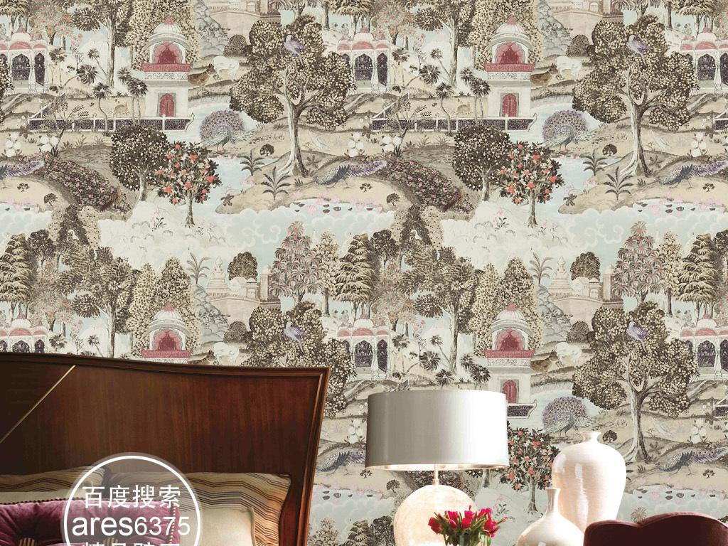 复古新中式手绘花鸟山水花卉图案壁画墙纸