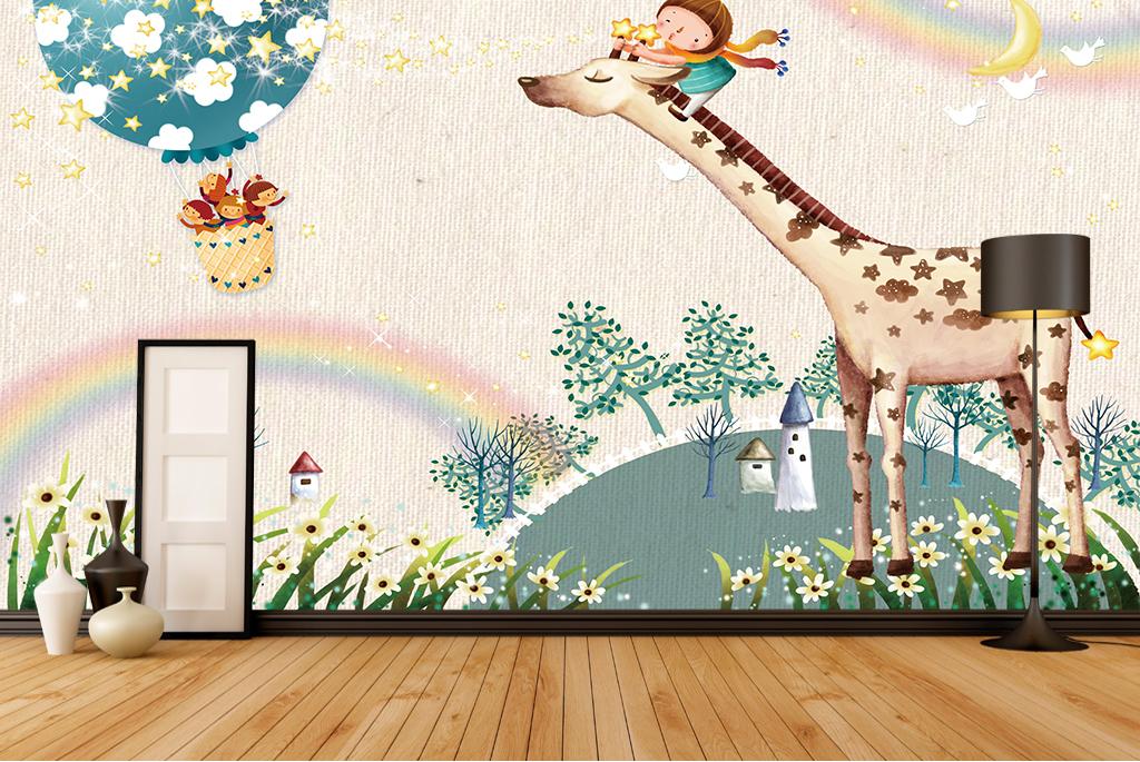 画 电视背景墙 现代简约电视背景墙 > 长颈鹿卡通电视背景墙儿童房