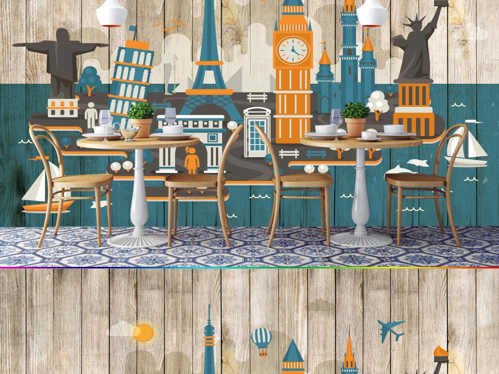 3d立体复古木纹手绘涂鸦城市建筑背景墙