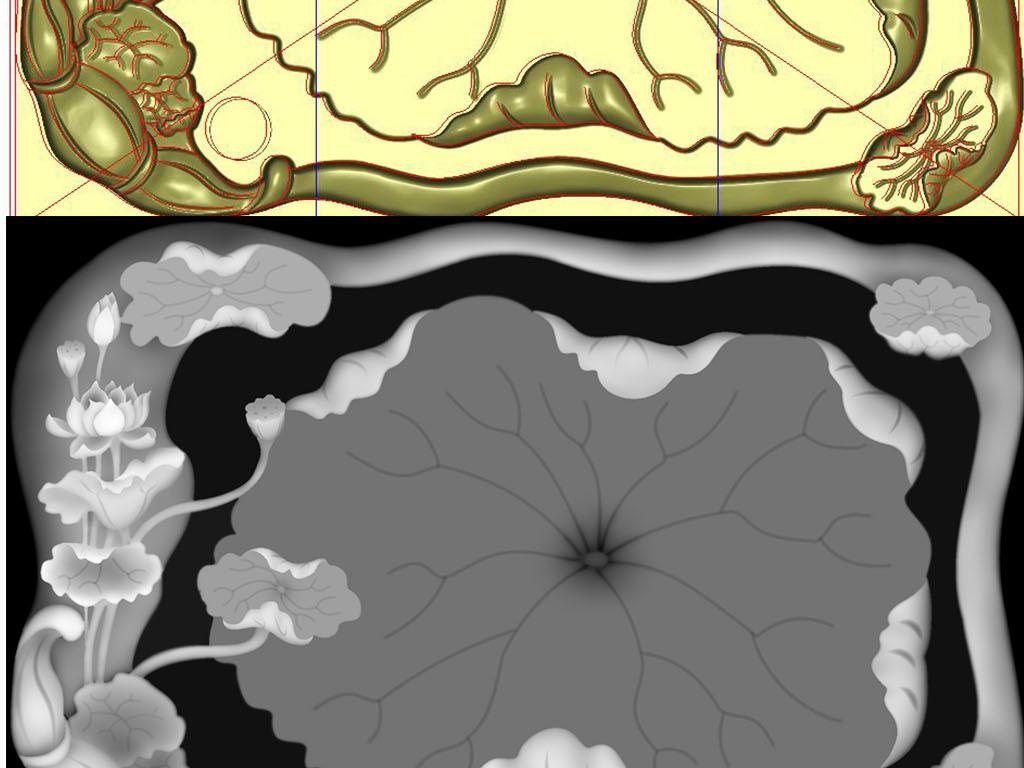 荷叶莲藕茶盘精雕图灰度图设计雕刻图案