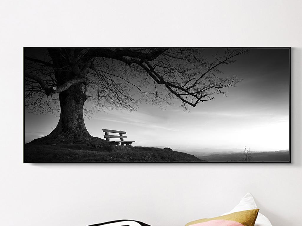 现代简约大树黑白装饰画