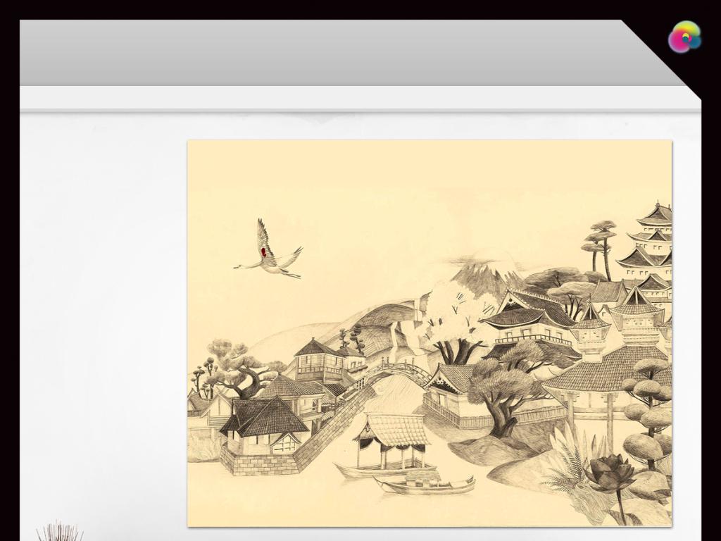 手绘中国风水墨风景画